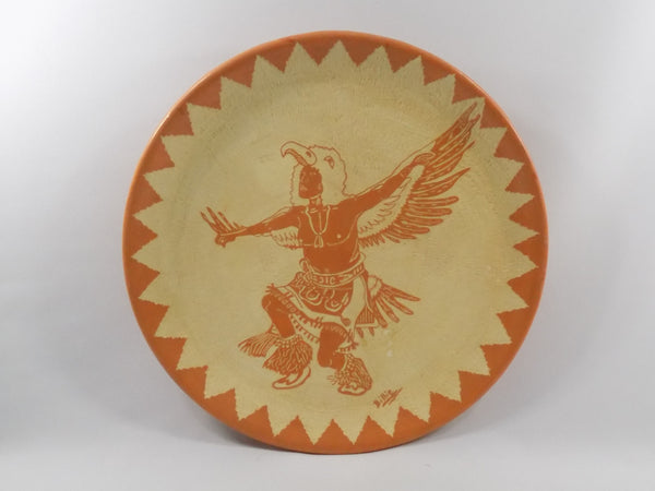 4901 Vintage Pottery Plate - Indian Dancing front view-3648 x 2736.jpg