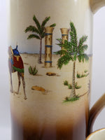 4904 Antique Haynes Ware Tankard Pitcher - Egyptian Decoration- palms close up-1200 x 1600.jpg