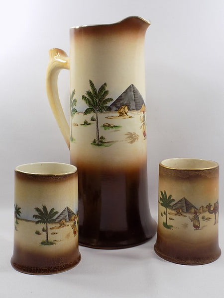 4904 Antique Haynes Ware Tankard Pitcher - Two Mugs - Egyptian Decoration -1200 x 1600.jpg