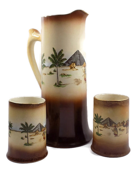 4904 Antique Haynes Ware Tankard Pitcher - Two Mugs - Egyptian Decoration-WO -1200 x 1600.jpg