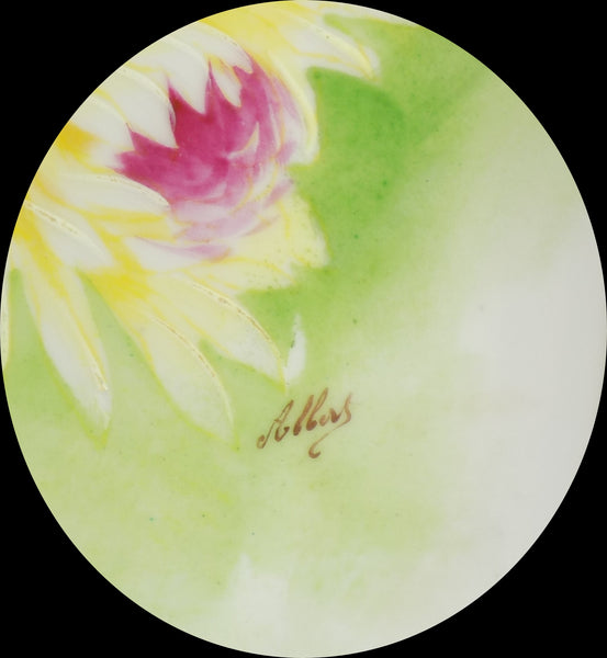 4918 Antique Coronet Porcelain Plate -  Limoges France - Signed By Albers ssigned area close up on front-17844 x 1935.jpg