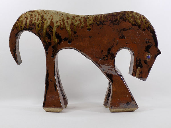 4946 MCM Pottery Horse - Drip Glaze - Signed - Full view facing right-1600 x 1200.jpg