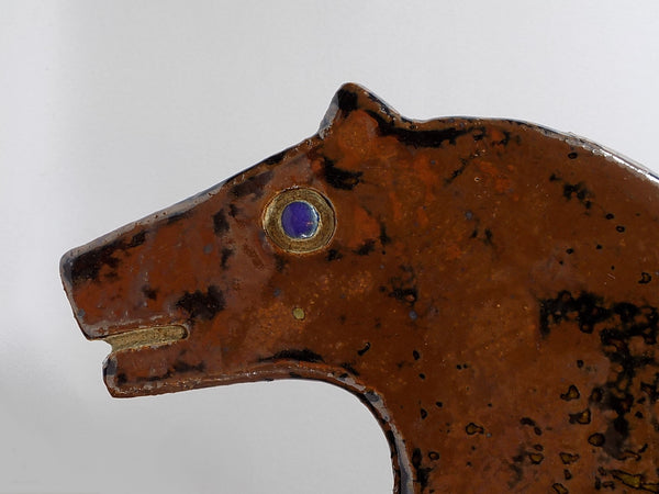 4946 MCM Pottery Horse - Drip Glaze - Signed - Head close up-1600 x 1200.jpg