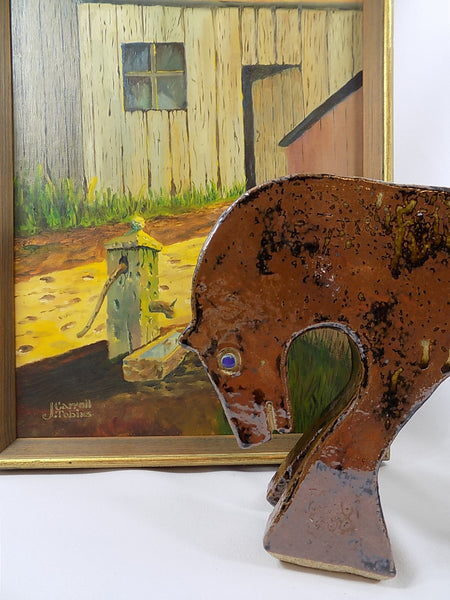 4946 MCM Pottery Horse - Drip Glaze - Signed - with painting of farm-1200 x 1600.jpg