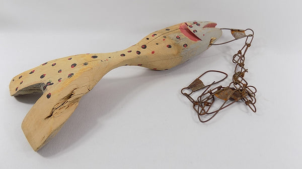 4952 Hand Carved Fish Decoy Sculpture On Chain Stringer Signed  Michigan Folk Art bottom and side view-1562 x 878.jpg