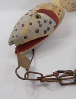 4952 Hand Carved Fish Decoy Sculpture On Chain Stringer Signed  Michigan Folk Art mouth view-957 x 1247.jpg