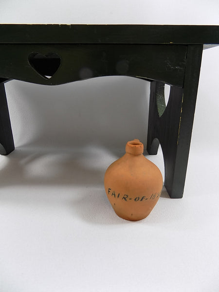 4976- Antique Redware Miniature Jug - 1895 Fair Commemorative in from of small bench-1200 x 1600.jpg