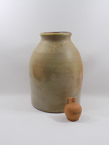 4976- Antique Redware Miniature Jug - 1895 Fair Commemorative in front of large jug-2-1200 x 1600.jpg