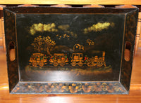4999 Vintage Tin Tray - Hand Painted Steam Engine-Up view on hutch-3080 x 2265.jpg