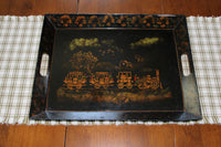 4999 Vintage Tin Tray - Hand Painted Steam Engine - tray on table-3984 x 2656.jpg