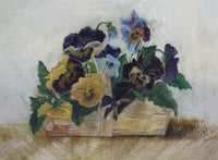 5052 Antique Hand Painted Papier Mache Plate 1880s-basket of pansies close up-3261 x 2396.jpg