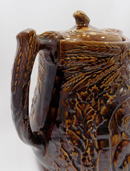 1800s Antique Rockingham Glazed Lidded Pitcher  E. and W. Bennett Pottery Attribution Handle Close up