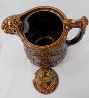 1800s Antique Rockingham Glazed Lidded Pitcher E. and W. Bennett Pottery Attribution inside pitcher view