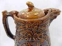 1800s Antique Rockingham Glazed Lidded Pitcher  E. and W. Bennett Pottery Attribution Spout Right