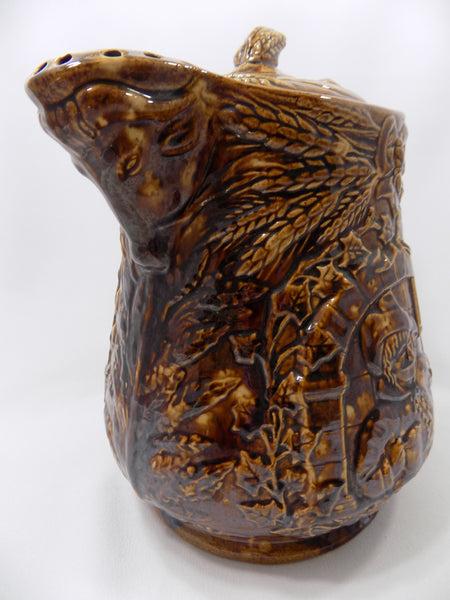 1800s Antique Rockingham Glazed Lidded Pitcher  E. and W. Bennett Pottery Attribution Spout Left Front