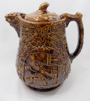 1800s Antique Rockingham Glazed Lidded Pitcher E. and W. Bennett Pottery Attribution Main view
