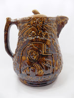 1800s Antique Rockingham Glazed Lidded Pitcher  E. and W. Bennett Pottery Attribution Handle Left