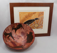 B Culp Metal Bowl with Cave paintings shown in front of Aborigine print-2602 x 2434.jpg
