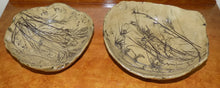 Studio Art Pottery Bowls, 1980s Signed and Dated Pair With Leaves, Branches and Shells shown on wood chest