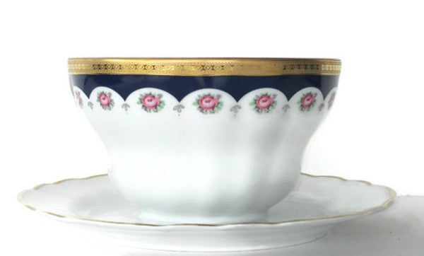 Winterling Bavarian Porcelain Mayo Bowl with Attached Underplate