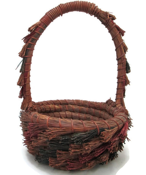 Pine Needle Basket, Hand Coiled and Dyed, Tall Hoop Handle