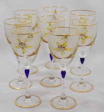 Barbini Italy Vintage Wine Glasses Lead Crystal Hand Painted Set of Eight all eight viewed