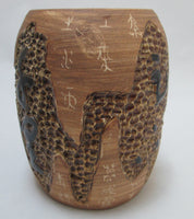 Ming Jia Art Pottery Sgraffito Vase Chinese Contemporary Side Two