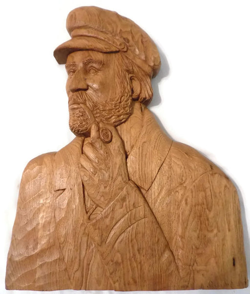 St.-Jean-Port-Joli Relief Wood Carving, Huge Plaque by Robert Guay /Quebec, Canada, Hand Carved White Oak, Signed and Dated 1988