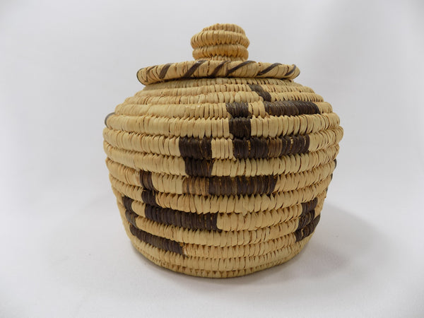 Tohono O'odham (Papago) Basket By Sally Juan Native American Art From Arizona full side view