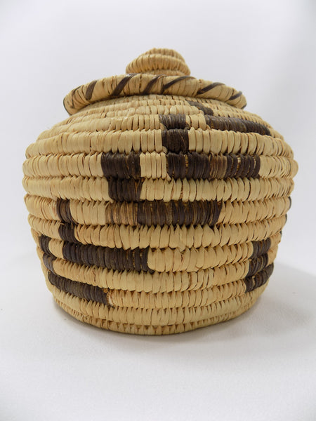 Tohono O'odham (Papago) Basket By Sally Juan Native American Art From Arizona side view