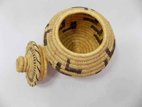 Tohono O'odham (Papago) Basket By Sally Juan Native American Art From Arizona inside basket view