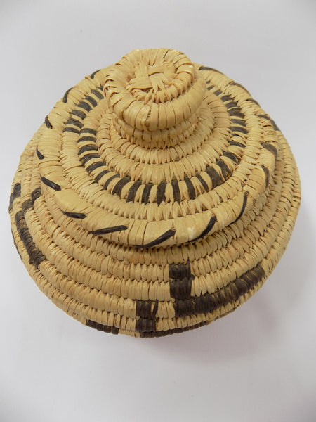 Tohono O'odham (Papago) Basket By Sally Juan Native American Art From Arizona top of basket view