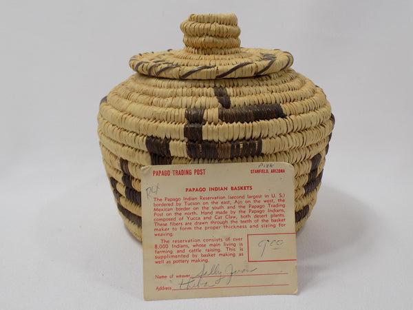 Tohono O'odham (Papago) Basket By Sally Juan Native American Art From Arizona with information card in front