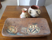 Vintage Wooden Dough Bowl With Painting of Native American Artifacts -2414 x 1848.jpg