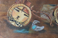 Vintage Wooden Dough Bowl With Painting of Native American Artifacts-close up-bracelet-3984 x 2656.jpg