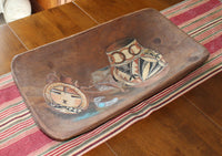 Vintage Wooden Dough Bowl With Painting of Native American Artifacts-on table runner-2180 x 1541.jpg