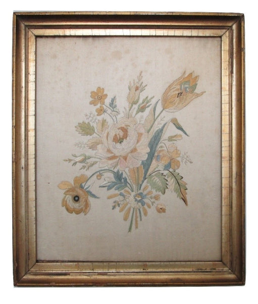 Silk Embroidery in Lemon Gold Leaf & Gesso Period Frame Circa 1840