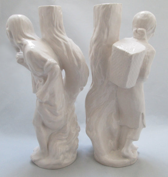 Blanc de Chine 13 Inch Tall Pair of Chinese Peasant Statues Back View