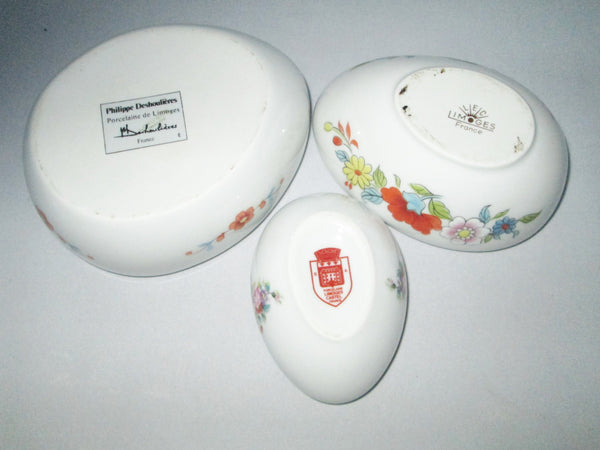 Limoges Porcelain Trio of Egg Shaped Trinket Boxes Maker Marked Bottom View