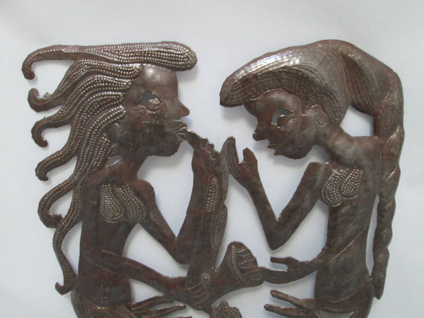 Haitian Steel Drum Art by Vertus Romens Fer Découpé of Mermaids Top Half