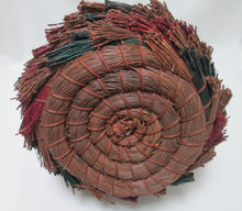 Pine Needle Basket, Hand Coiled and Dyed, Tall Hoop Handle Bottom View
