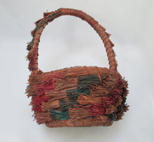 Pine Needle Basket, Hand Coiled and Dyed, Tall Hoop Handle Side View