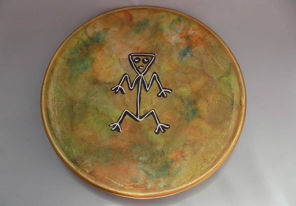 Rock Art (Arte Rupestre) Redware Wall Charger Dominican Republic front view