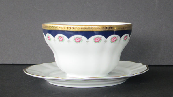 Winterling Bavarian Porcelain Mayo Bowl with Attached Underplate Full View