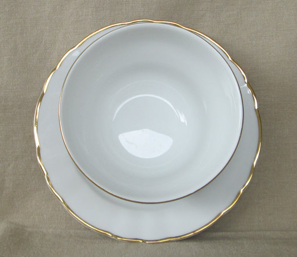 Winterling Bavarian Porcelain Mayo Bowl with Attached Underplate Inside view and rim