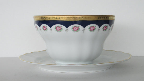 Winterling Bavarian Porcelain Mayo Bowl with Attached Underplate Full view-2