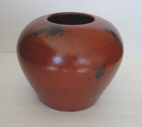Large Pot/Vase Hand Built Pit Fired Red Clay Smoke-Marked Front view