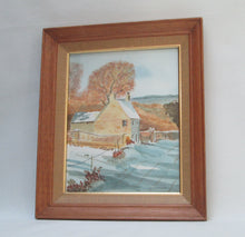 "Watercolor by Irish Artist Jim Kavanagh ""Devonshire Cottage"" Full Framed View"