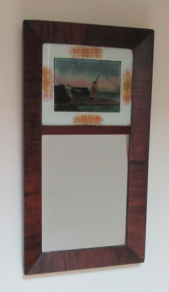 1840 Ca.  Antique Empire Ogee Mirror With  Églomisé Folk Art Panel-3