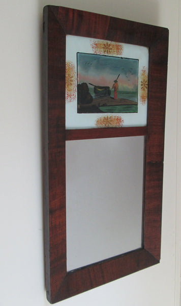 1840 Ca.  Antique Empire Ogee Mirror With  Églomisé Folk Art Panel-1
